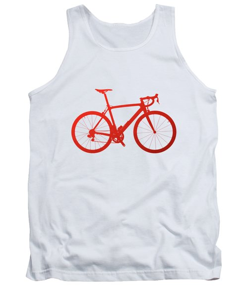 Road Bike Silhouette - Red On White Canvas Tank Top