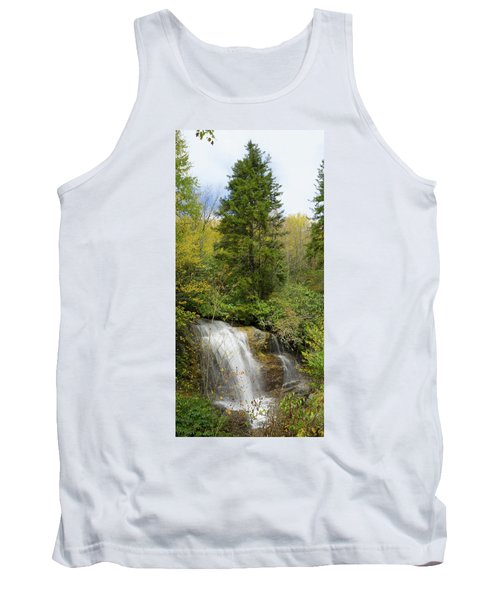 Tank Top featuring the photograph Roadside Waterfall In North Carolina by Mike McGlothlen
