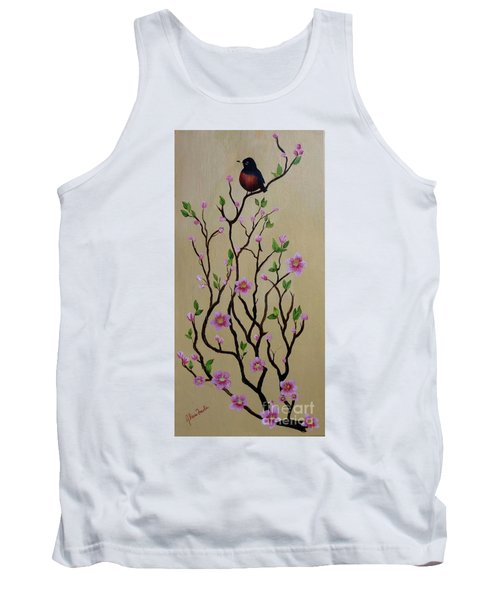 Robin And Spring Blossoms Tank Top