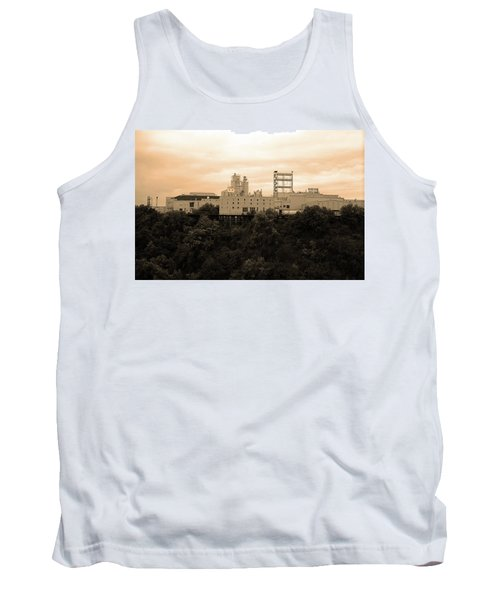 Tank Top featuring the photograph Rochester, Ny - Factory On A Hill Sepia by Frank Romeo