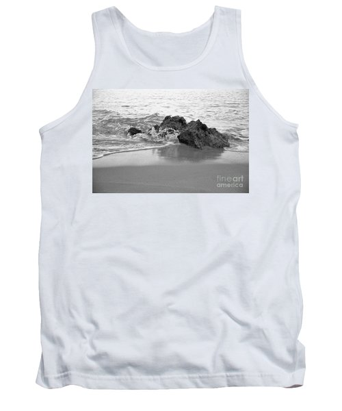 Rock And Waves In Albandeira Beach. Monochrome Tank Top by Angelo DeVal