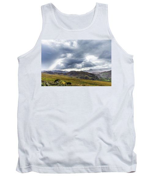 Tank Top featuring the photograph Rock Formation Landscape With Clouds And Sun Rays In Ireland by Semmick Photo