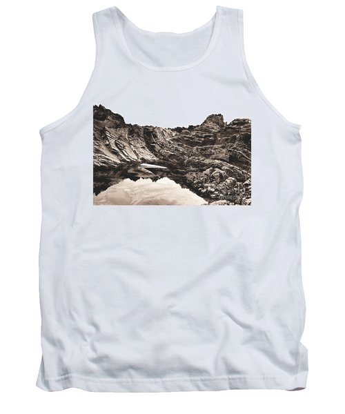 Tank Top featuring the photograph Rock - Sepia by Rebecca Harman