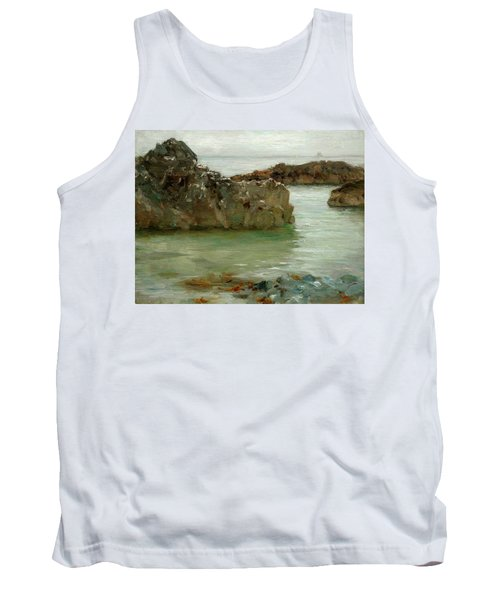 Tank Top featuring the painting Rocks At Newport by Henry Scott Tuke