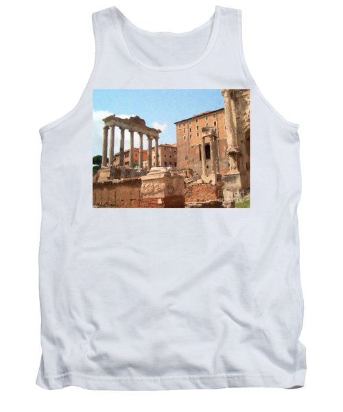 Tank Top featuring the mixed media Rome The Eternal City And Temples by Rosario Piazza