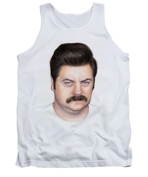 Ron Swanson Portrait Nick Offerman Tank Top by Olga Shvartsur
