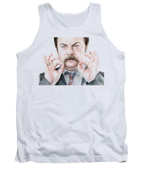 Ron Swanson Mustache Portrait Tank Top