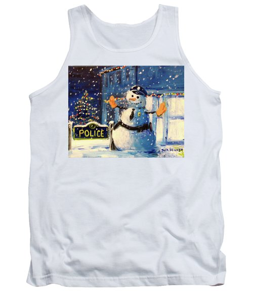Tank Top featuring the painting Rookie Working Christmas Eve by Jack Skinner