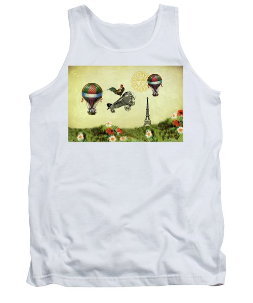 Rooster Flying High Tank Top by Peggy Collins