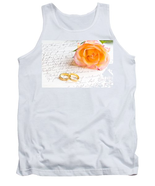 Rose And Two Rings Over Handwritten Letter Tank Top