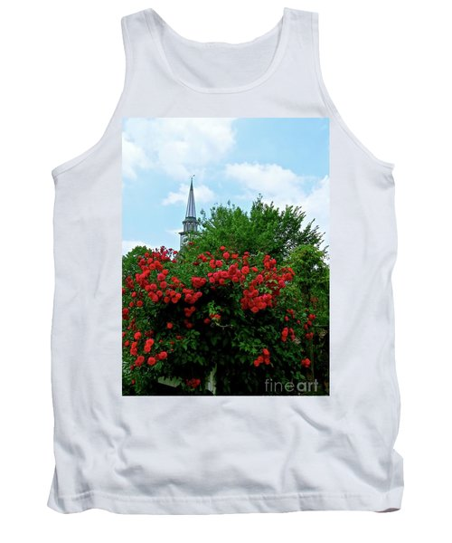 Roses On The Fence In Mauricetown Tank Top by Nancy Patterson