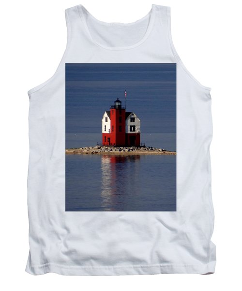 Round Island Lighthouse In The Morning Tank Top by Keith Stokes