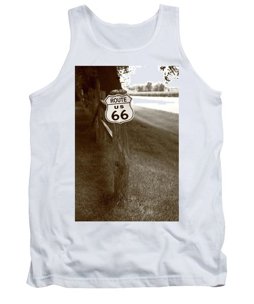 Tank Top featuring the photograph Route 66 Shield And Fence Sepia Post by Frank Romeo