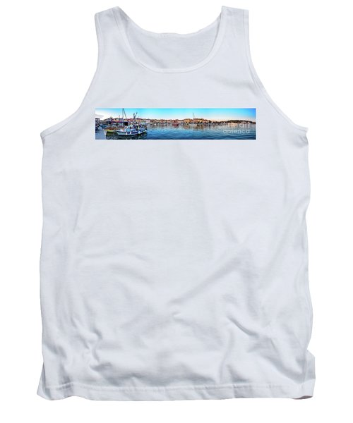 Rovinj Harbor And Boats Panorama Tank Top