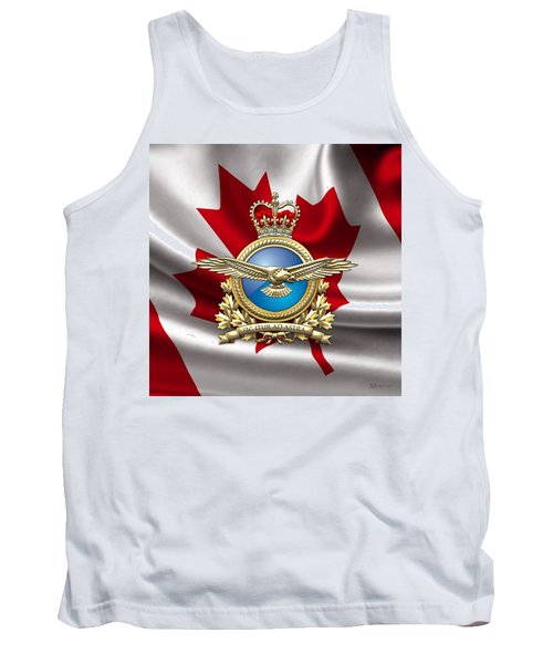 Royal Canadian Air Force Badge Over Waving Flag Tank Top by Serge Averbukh