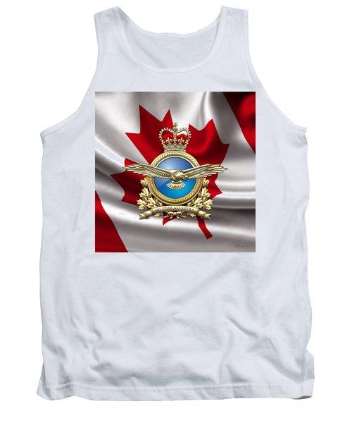 Royal Canadian Air Force Badge Over Waving Flag Tank Top