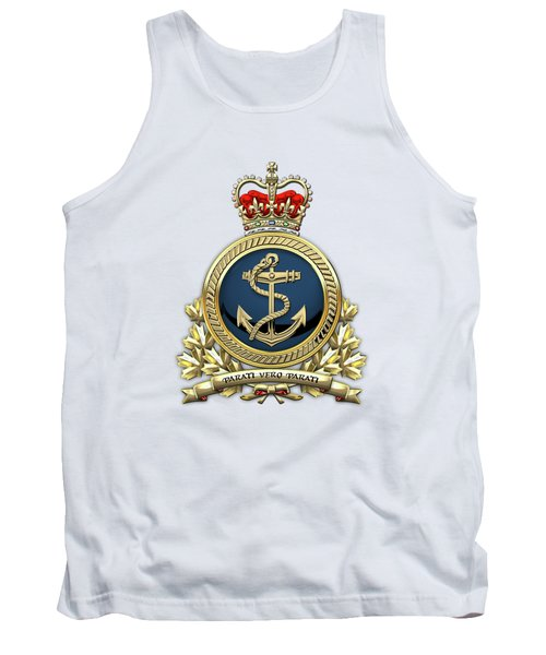 Tank Top featuring the digital art Royal Canadian Navy  -  R C N  Badge Over White Leather by Serge Averbukh