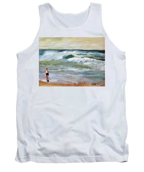 Running The Beach Tank Top by Michael Helfen