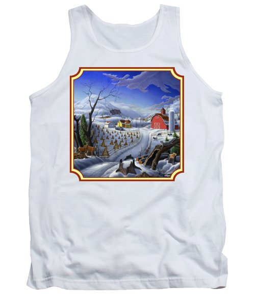 Rural Winter Country Farm Life Landscape - Square Format Tank Top by Walt Curlee