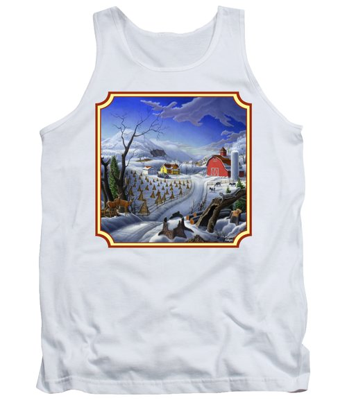 Rural Winter Country Farm Life Landscape - Square Format Tank Top