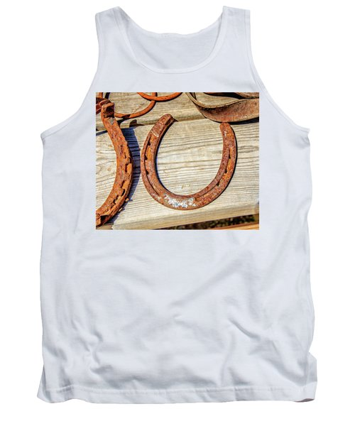 Tank Top featuring the photograph Rusty Horseshoes Found By Curators Of The Ghost Town Of St. Elmo by Peter Ciro