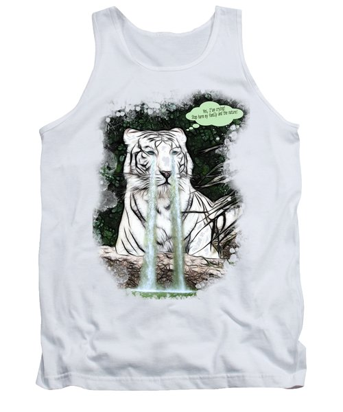Sad White Tiger Typography Tank Top by Georgeta Blanaru