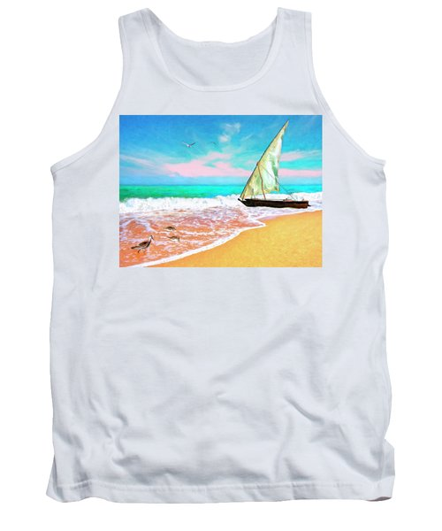 Sail Boat On The Shore Tank Top
