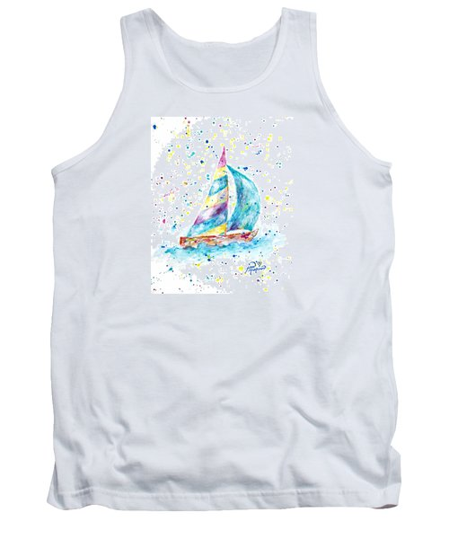 Sailboat By Jan Marvin Tank Top
