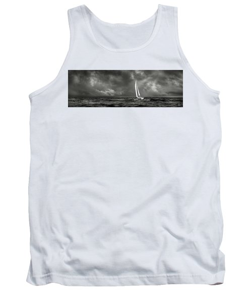 Sailing The Wine Dark Sea In Black And White Tank Top