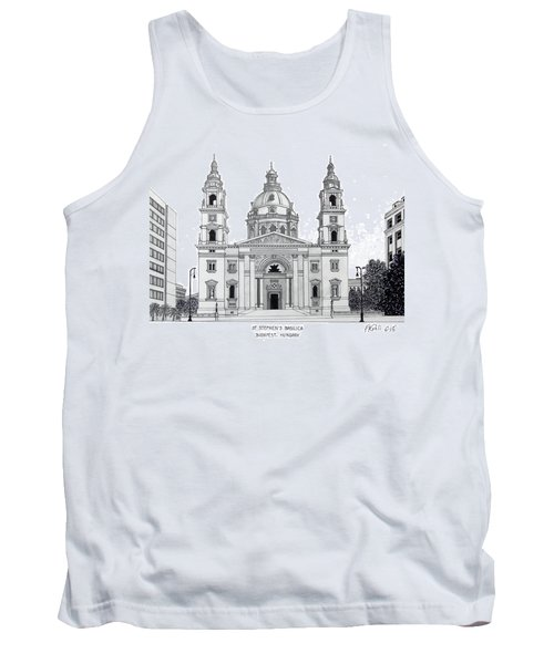 Tank Top featuring the drawing Saint Stephens Basilica by Frederic Kohli