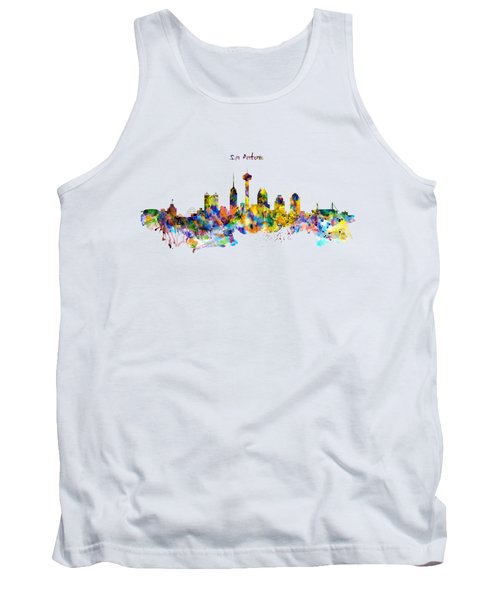San Antonio Skyline Silhouette Tank Top by Marian Voicu