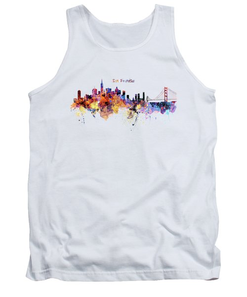 San Francisco Watercolor Skyline Tank Top by Marian Voicu