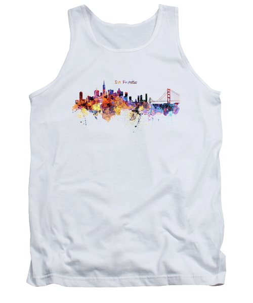 San Francisco Watercolor Skyline Tank Top