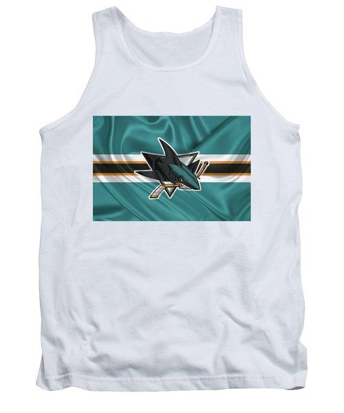 San Jose Sharks - 3 D Badge Over Silk Flagsan Jose Sharks - 3 D Badge Over Silk Flag Tank Top