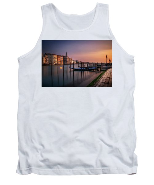 San Marco Campanile With Gondolas At Grand Canal During Calm Sunrise, Venice, Italy, Europe. Tank Top