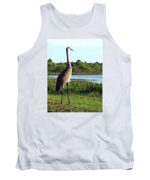 Tank Top featuring the photograph Sandhill Crane 019 by Chris Mercer