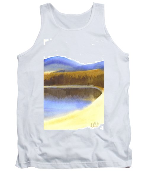 Sandy Blue Dusky Mountain Lake Tank Top by Kip DeVore