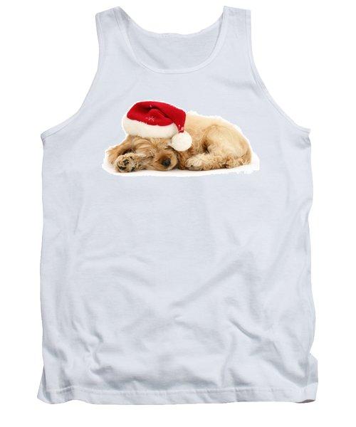 Santa's Sleepy Spaniel Tank Top