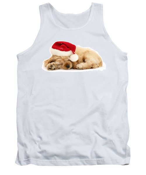 Santa's Sleepy Spaniel Tank Top