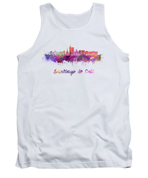 Santiago De Cali Skyline In Watercolor Tank Top