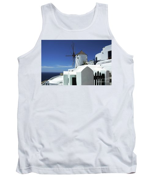 Tank Top featuring the photograph Santorini Greece Architectual Line 5 by Bob Christopher