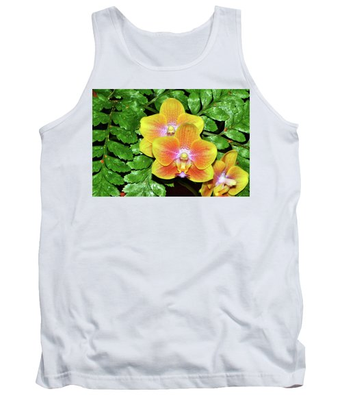 Sara Gold Orchids 003 Tank Top by George Bostian