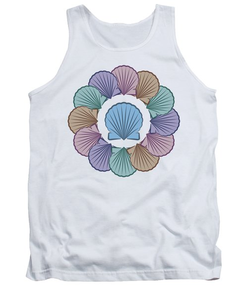 Scallop Shells Circle Multi Color Tank Top