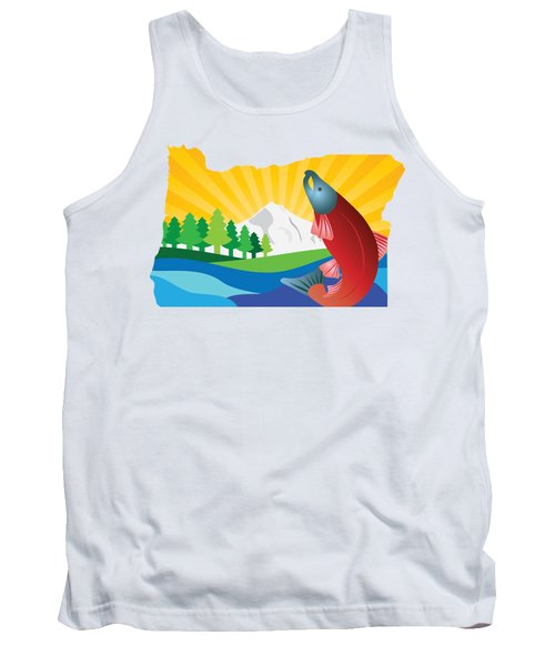 Scenic State Of Oregon Map Tank Top by Jit Lim