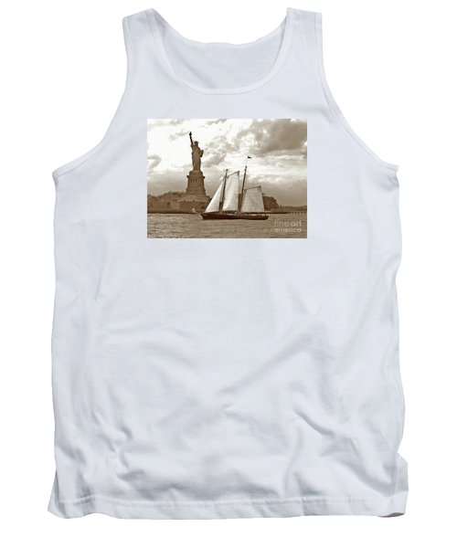 Schooner At Statue Of Liberty Twurl Tank Top