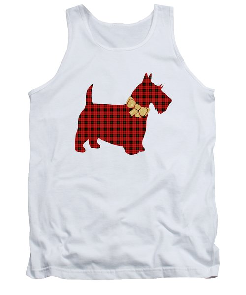 Tank Top featuring the mixed media Scottie Dog Plaid by Christina Rollo