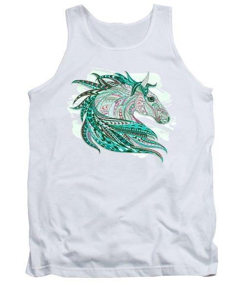 Sea Green Ethnic Horse Tank Top