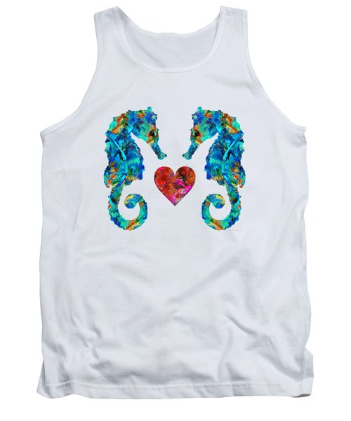 Sea Lovers - Seahorse Beach Art By Sharon Cummings Tank Top