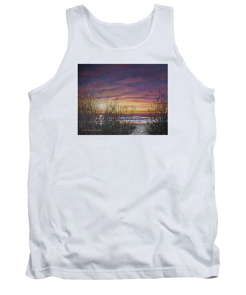 Tank Top featuring the painting Sea Oat Sunrise # 3 by Kathleen McDermott