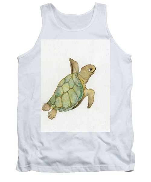 Tank Top featuring the painting Sea Turtle by Annemeet Hasidi- van der Leij
